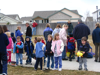 neighborhood kids at egg hunt